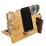 Wood Phone Docking Station for Dad - Engraved Nightstand Organizer with Phone Stand, Accessory Holder, Watch Stand - Personalized Gifts for Fathers Day, Birthday, Thanksgiving, Christmas