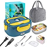 Electric Lunch Box, [Upgraded] 60W High-power Food Heater,12V 24V 110V 3 in1 Portable microwave for Car/Truck/Home–Leak proof,Removable 304 Stainless Steel Container fork & spoon and Carry Bag -Yellow