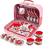 Kids Tea Set for Little Girls and Boys Pretend Play Tin Tea Kitchen Toy Set with a Carry Case (15 Pieces)