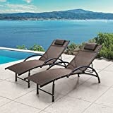Crestlive Products Adjustable Chaise Lounge Aluminum Lounge Chair Five-Position Outdoor Recliner with Padded Headrest & Curved Armrest All Weather for Patio, Beach, Yard, Pool(2 PCS Brown)