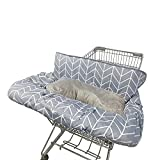 Shopping Cart Covers for Baby with Pillow, Seat positioner Cotton High Chair Cover, Machine Washable for Infant, Toddler, Boy or Girl Large (Square)