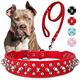 Spiked Studded Leather Dog Collar with Leash, Epesiri Rivet PU Leather Dog Collars for Pit Bull, Durable Leather Cat Collar with Spiked Studded for Small Medium Large Breed Best Gift Pet Rivet Collar