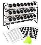 SWOMMOLY Spice Rack Organizer with 24 Empty Square Spice Jars, 396 Spice Labels with Chalk Marker and Funnel Complete Set, for Countertop, Cabinet or Wall Mount