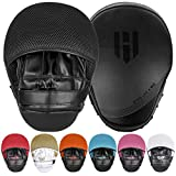 Punching Mitts Kickboxing Muay Thai MMA Boxing Mitts Training Focus Punch Mitts Bags Hand Target Pads for Kids, Men & Women (Pair) (All-Black)