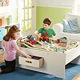 -Melissa &-Doug Deluxe Wooden Multi-Activity Play Table - For Trains, Puzzles, Games, More