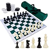 Juegoal 20' Portable Chess & Checkers Set, 2 in 1 Travel Board Games for Kids and Adults, Folding Roll up Chess Game Sets, Extra 26 Checker Pieces, Tournament Thick Mousepad Mat with Storage Bag