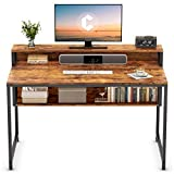 Cubiker Computer Home Office Desk, 47' Small Desk Table with Storage Shelf and Bookshelf, Study Writing Table Modern Simple Style Space Saving Design, Rustic