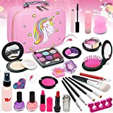 ROKKES Kids Makeup Kit for Girl - Washable Real Make up Set Toys for Little Girls, Toddler Safe & Non Toxic Cosmetic Set, Play Pretend Dress Up Starter, Age 4 5 6 7 8 Year Olds Child Birthday Gift