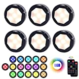 Led Puck Lights with Remote Control, UYICOO Wireless Color Changing Dimmable Under Cabinet Lighting, 3500K Battery Operated Stick on Lights with Timing, Under Counter Lights for Closet (6 Packs).