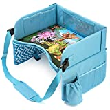 Car Seat Tray for Kids Travel (Ages 3–7) – Waterproof Kids Travel Tray for Kids Car Seat – Tablet Holder, 14 Mesh Pockets, Cup Holder, Secure-Fit Adjustable Strap – Comfy Kids Lap Tray by JollyLeap