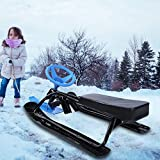HURRISE Snow Racer Sled with Steering Wheel, Sturdy Steel Frame Sled Slider Board for Kids Teens Winter Sports Age 4 & up