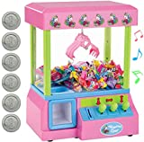 Bundaloo Unicorn Claw Machine Arcade Game and Candy Dispenser for Small Prizes Toys and Treats, Plays Original Arcade Music Sounds, Cool Mini Vending Machine
