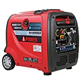 A-iPower SUA4000iED 4000 Watt Portable Inverter Generator Gas & Propane Powered, Small with Electric Start RV Ready for Camping, Tailgate, or Home emergency