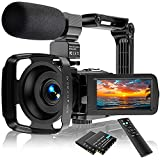 Video Camera Camcorder Ultra HD 2.7K 24FPS 36.0 MP IR Night Vision YouTube Vlogging Camera 3.0 Touch Screen 16X Digital Zoom with Remote Control Microphone Handheld Stabilizer 2 Batteries