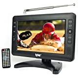 Tyler 9' Portable TV LCD Monitor Rechargeable Battery Powered Wireless Capability HD-TV, USB, SD Card, AC/DC, Remote Control Built in Stand Small for Car Kids Travel