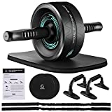 Gonex Ab Roller Wheel, Workout Equipment for Core & Abdominal Strength Training, Ab wheel with Resistance Bands, Knee Mat, Core Sliders, Push-Up Bar Accessories for Home Gym