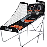 Rally and Roar Classic Shootout Indoor Foldable Arcade Basketball Game - Dual Shot with LED Lights and Scorer - 8 Game Options with 7 Basketballs and Pump