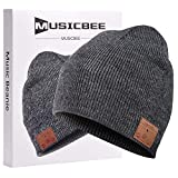 beanie Bluetooth, MUSICHAT Bluetooth V5.0 Wireless Knitted Winter hat, Built-in Microphone and high-Definition Stereo Speakers, Wool Lining Suitable for Outdoor Homes and Gifts-Unisex (Charcoal)