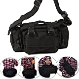 Tactical Waist Pack Deployment Bag Military Molle Bicycle/Motorcycle 3P Waterproof Fanny Packs Camera Bag Camo EDC Utility Pouch Crossbody Heavy Duty with Shoulder Strap Hand Carry (Black)