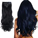 Lelinta 7Pcs 16 Clips 24 Inch Wavy Curly Full Head Clip in on Double Weft Hair Extensions, Dark Black, 24 Inch