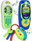 Click N' Play Pretend Play Cell Phone TV Remote & Car Key Accessory Playset for Kids with Lights Music & Sounds (Set of 3) Brown/a
