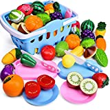 FUN LITTLE TOYS 53 PCs Play Food for Kids Kitchen, Pretend Cutting Food Toys with Shopping Basket for Kids Birthday Gifts, Pretend Play