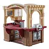 Step2 Grand Walk-In Kitchen & Grill   Large Kids Kitchen Playset Toy   Play Kitchen with 103-Pc Play Kitchen Accessories Set Included, Brown/Tan/Maroon (821400)