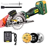 Cordless Circular Saw, POPOMAN 20V 4.0Ah Lithium-Lon Battery, 4-1/2' 4500RPM Compact Circular Saw with Laser, 3 Saw Blades, Ideal for Wood, Soft Metal, Tile, Plastic Cuts - MTW510B