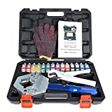 marddpair Hydraulic Hose Crimper Manual A/C Hose Crimper Kit Air Conditioning Repaire Handheld Hydraulic Hose Crimping Tool with 7 Die Set Fit for Barbed and Beaded Hose Fittings