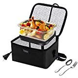 Portable Food Warmer, 110V Heated Lunch Box for Reheating Leftovers & Frozen food, Slow Cooker Tote Personal Microwave Oven for Home Kitchen/Office/Party/School by Theocis, Black