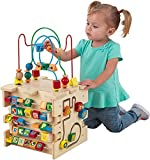 KidKraft Deluxe 5-Sided Wooden Activity Cube for Toddlers and Preschoolers, Teaches Shapes, Colors, Letters and Numbers, Gift for Ages 12 mo+