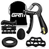 GRM Hand Grip Strengthener with Counter, Forearm Trainer Workout Kit (5Pack), Adjustable Resistance Grip Strength Trainer, Finger Exerciser/Stretcher, Grip Ring, Grip Ball for Recovery and Athletes