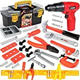 Kids Tool Set with Electric Toy Drill for Kids, Toddler Tool Set with Toy Tool Box & Tool Belt, Kids Power Construction Toy Tool Set Pretend Play Toy Tools Kit for Toddler Boys Girl Kid Child Ages 3+