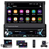 CAMECHO Android 10.0 Single Din Car Stereo Bluetooth Car DVD/CD Player 7 Inch Retractable & Flip-Out Touchscreen Radio Build-in GPS WiFi Support Android iOS Mirror Link with FM/AM/USB/SD/Backup Camera