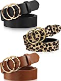 3 Pieces Women Leather Belt for Jeans Dress Waist Belts with Double Ring Buckle (Black, Brown and Leopard Print, M: suit for waist 30'-34')