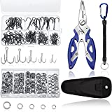 Skylety Fishing Tackle Tools 200 Pieces Split Fishing Rings with Plastic Box, 100 Pieces Treble Hooks Kit with Plastic Box, 1 Piece Lure Tackle Connector Fishing Plier and 1 Piece Fishing Lanyard