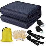 ANLU LOAD Moving Blanket(72'x 80') Heavy Duty Packing Blankets Moving Strap Suitable for Carrying Glass/Piano/Washing/Machine/Mattress,Protect Your Valuables.