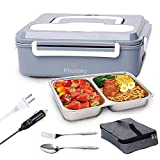 Electric Lunch Box Food Heater - Rhudaky 3-In-1 Portable Food Warmer Lunch Box for Car & Home – Leak proof, 2 Compartments, Removable 304 Stainless Steel Container, SS fork & spoon and Carry Bag
