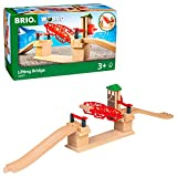 BRIO 33757 Lifting Bridge | Toy Train Accessory with Wooden Track for Kids Age 3 and Up , Red
