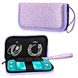 ACdream Case Fits Nintendo Switch Lite, Premium PU Leather Protective Case Bag for New Nintendo Switch Lite 5.5 inches 2019 Release with Portable, 6 Game Cards, Zipper Closure, Glitter Purple
