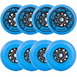 AOWISH Inline Skate Wheels 85A Outdoor Asphalt Formula Hockey Roller Blades Replacement Wheel with Bearings ABEC-9 and Aluminum Spacers (8-Pack) (Blue, 80mm)
