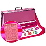 Yellow Mountain Imports American Mahjong Set - Pink Sparkles - with Pink Aluminum Case, All-in-One Racks with Pushers, Dice, Wind Indicator & Wright Patterson Scoring Coins