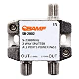 BAMF 2 Way Coaxial Cable Splitter, Bi-Directional Coax MoCA 5-2300MHz, RG6 Compatible, Nickel Plated Cable Splitter Internet and TV Splitter, Satellite, Amplifier, Antenna, Analog/ Digital Connections
