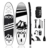 Roc Inflatable Stand Up Paddle Board with Premium sup Accessories & Backpack, Non-Slip Deck, Waterproof Bag, Leash, Paddle and Hand Pump. (Black)