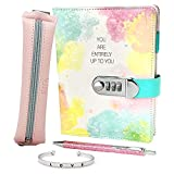 Life is a Doodle Girls Diary with Lock - Gift Set Includes PU Leather Journal with Password Combination Lock, Sleek Pencil Pouch That Wraps Around The Notebook, Bangle Bracelet & Pink Writing Pen