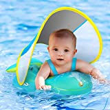 No Flip Over Baby Pool Float with Canopy UPF50+ Sun Protection, Inflatable Baby Float with Sponge Safety Support Bottom, Fun Gifts Water Toys Accessories Baby Swim Floats for Pool 3-36 Months (Large)