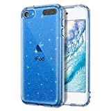 Lamcase for iPod Touch 7/6/5 Case, Crystal Clear Bling Sparkly Glitter Shiny Soft Flexible TPU Slim Fit Drop Protection Rugged Shockproof Cover for iPod Touch 7th/6th/5th Generation, Clear Glitter