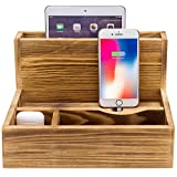 MyGift Rustic Torched Brown Wood Tabletop Charging Station/Smartphone and Tablet Cradle Valet