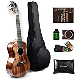 Caramel All Solid KOA Acacia Ukulele, MT25 High Gloss Tenor Ukelele Kit with Fluoro-carbon String, Digital Tuner, Strap for Both Beginners & Professional Players