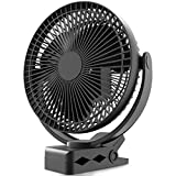 10000mAh Rechargeable Portable Fan, 8-Inch Battery Operated Clip on Fan, USB Fan, 4 Speeds, Strong Airflow, Sturdy Clamp for Personal Office Desk Golf Car Outdoor Travel Camping Tent Gym Treadmill